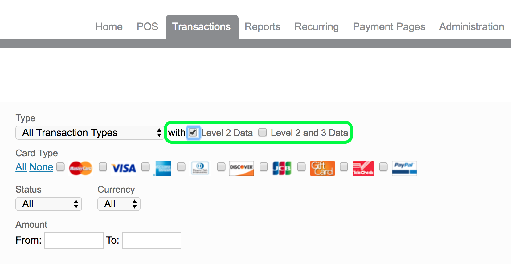 Level II and Level III Functionality in RPM – Payeezy